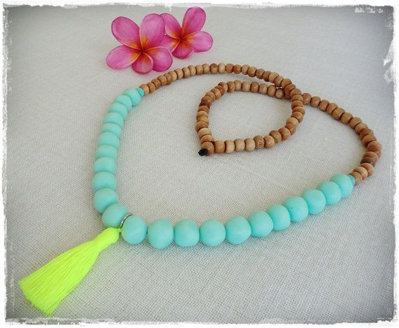 Chunky sea mist resin bead tassel necklace with by Brightnewpenny, $25.00