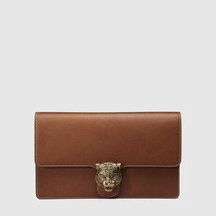 Animalier leather clutch