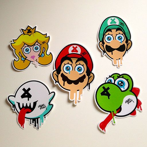 Super mario bros sticker pack 3 by theayecon on etsy 6 00