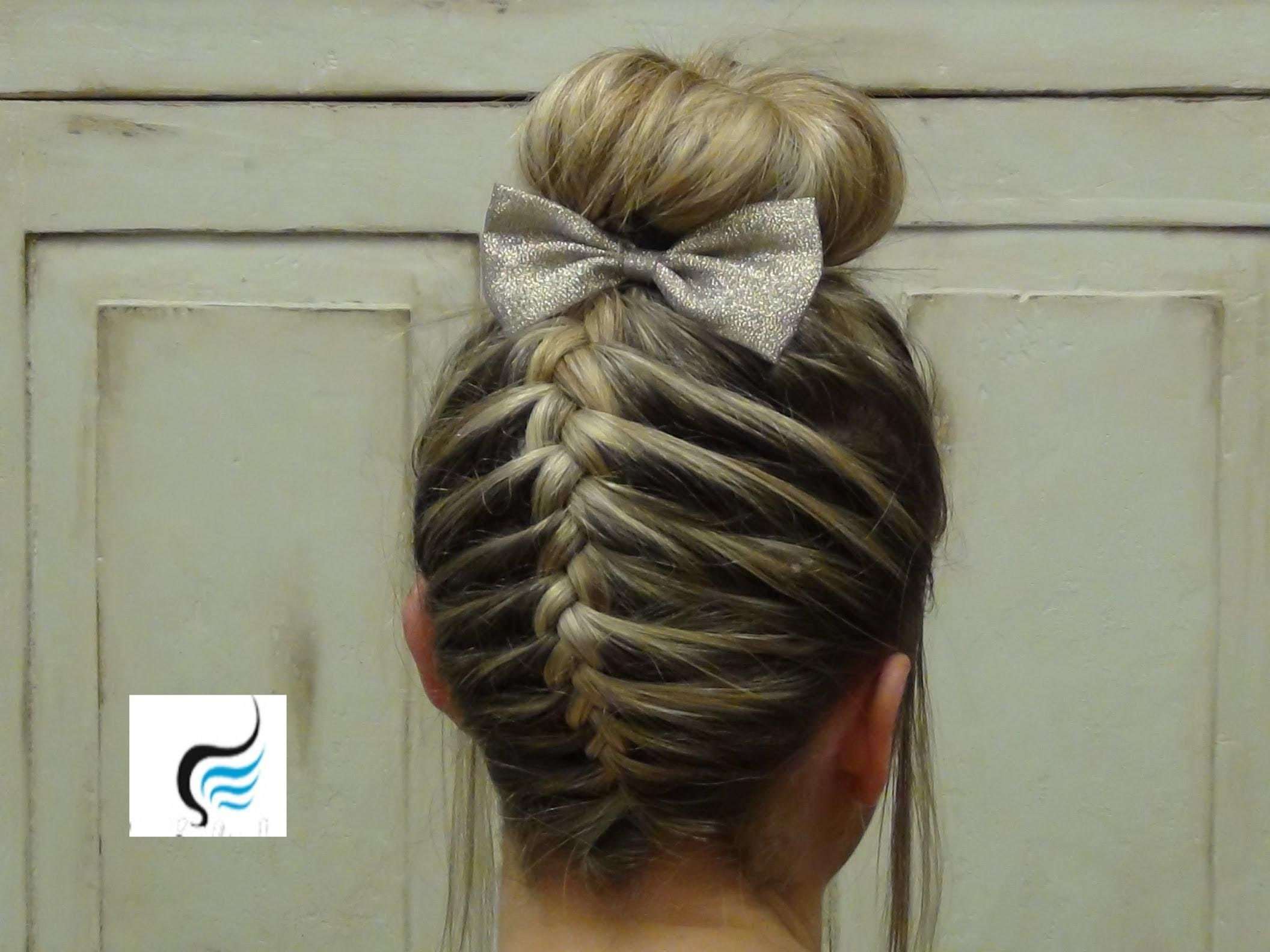 French Braid Sock Bun Girls Hairstyle With Images Braid Styles For Girls Cheer Hair Cheerleading Hairstyles
