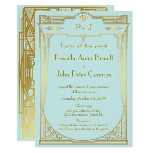 Wedding Invitation Card Great Gatsby Gold Mint 2 In 2018 Great