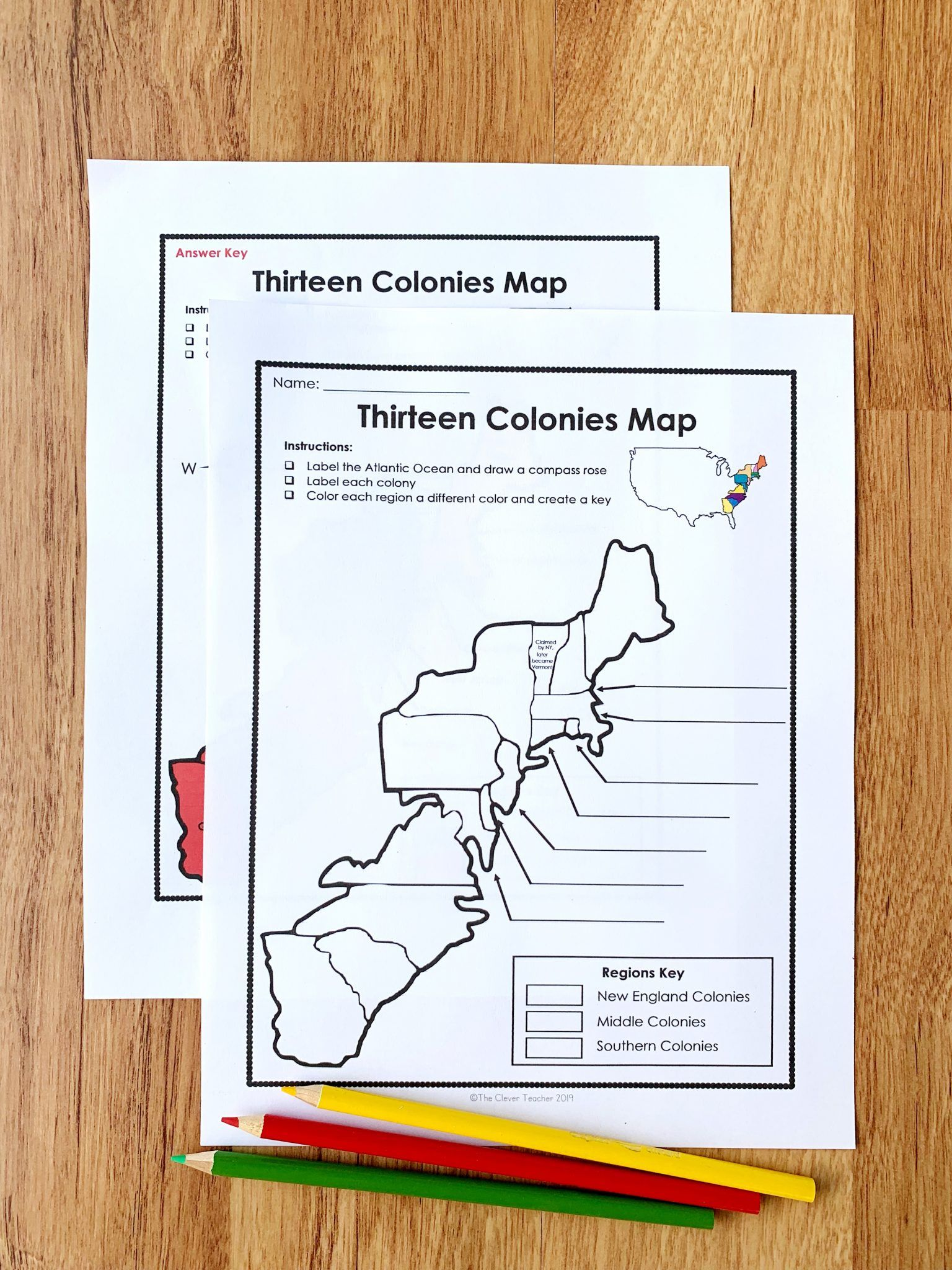 13 Colonies Free Map Worksheet And Lesson For Students In