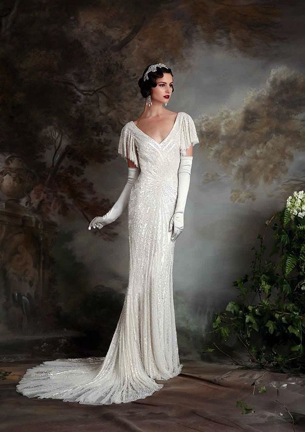 Lovely sleeves and drape on this 1920s inspired gown, the Sibella ...