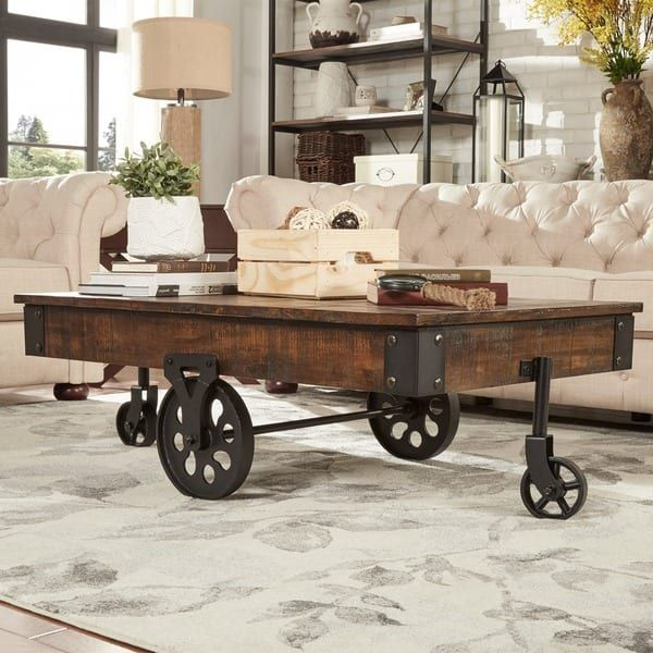 Myra Vintage Industrial Modern Rustic 47-inch Coffee Table ...