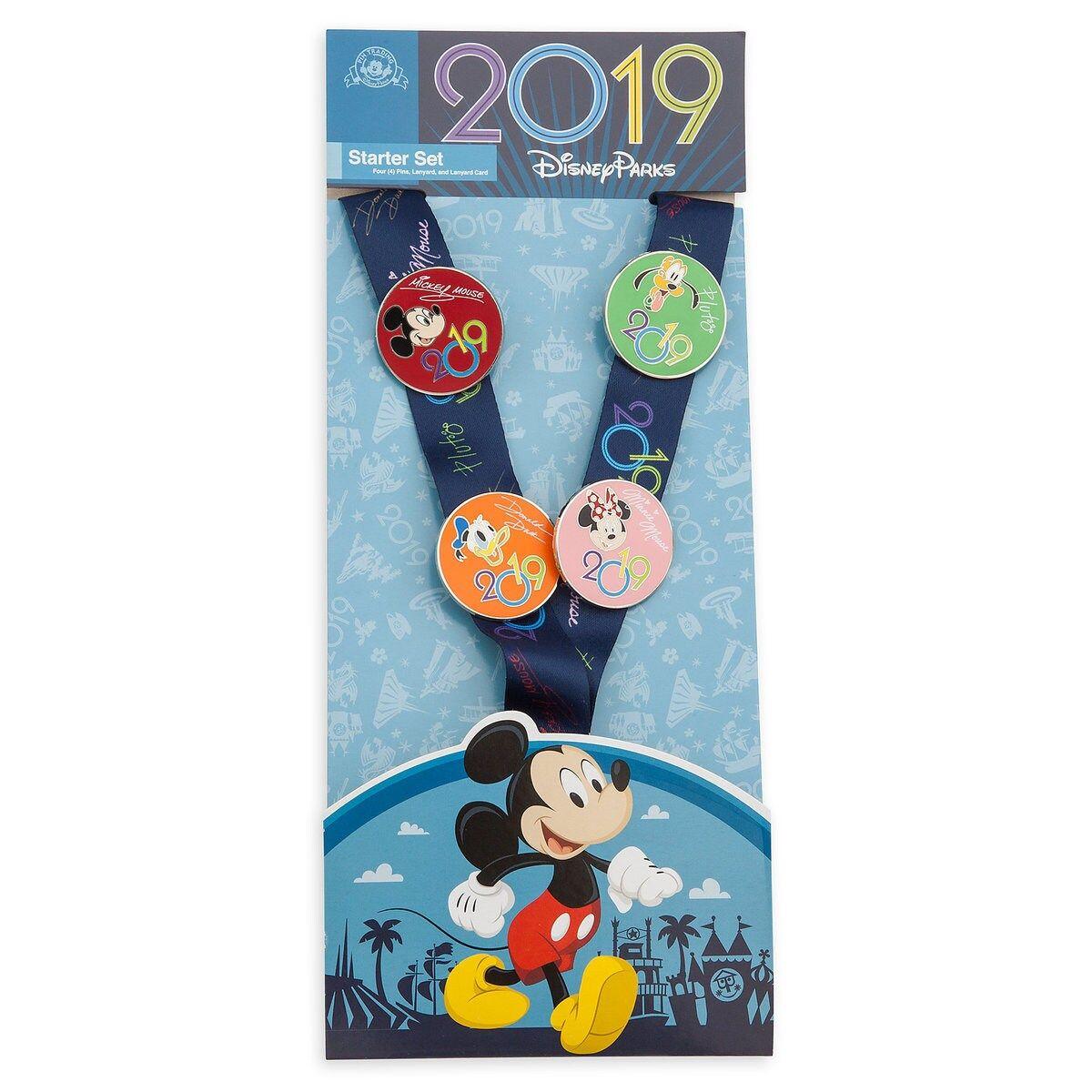 NEW Disney Parks 2019 Pin Trading Starter Set Lanyard Card 4 Pins