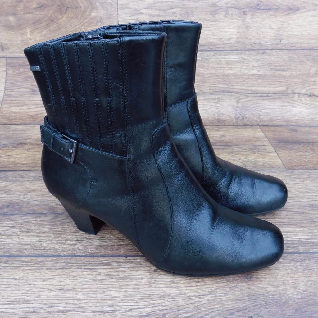 Ebay uk leather work gloves - Size Uk 6 5 D Clarks Gore Tex Black Leather Zip Up Mid Heeled Ankle Boots