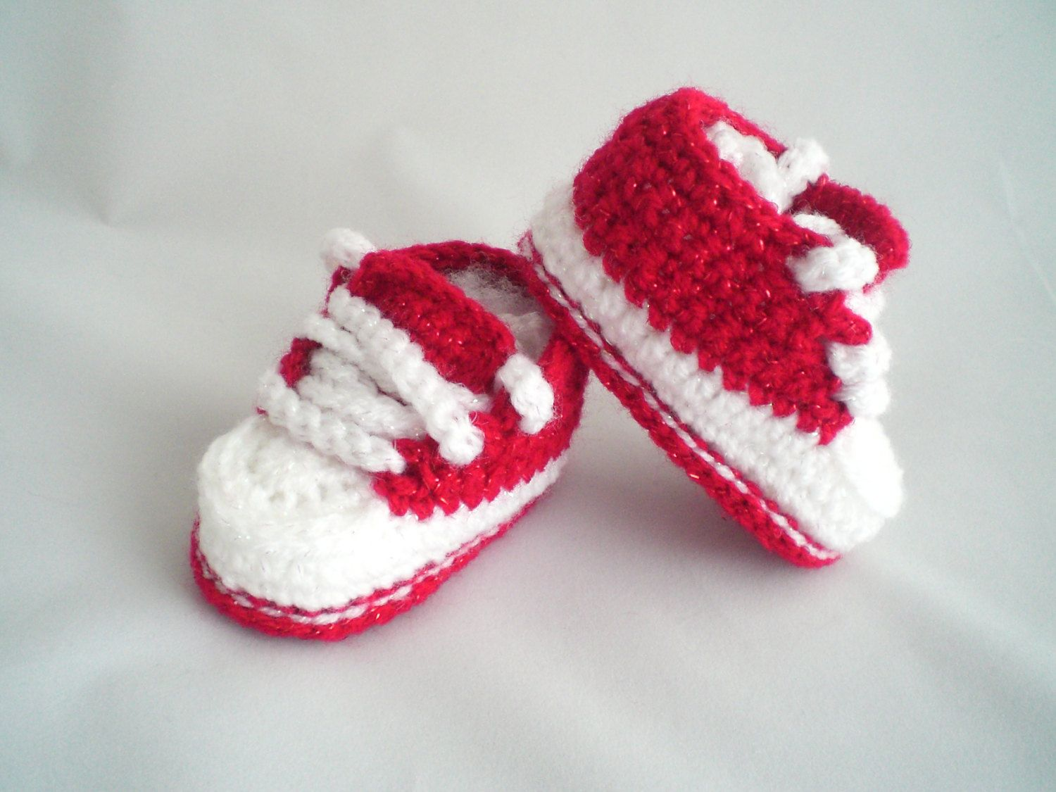 c7adf217065d7 Crochet Baby Shoes / Crochet Trainer Style Baby Shoes / Glitter Baby ...