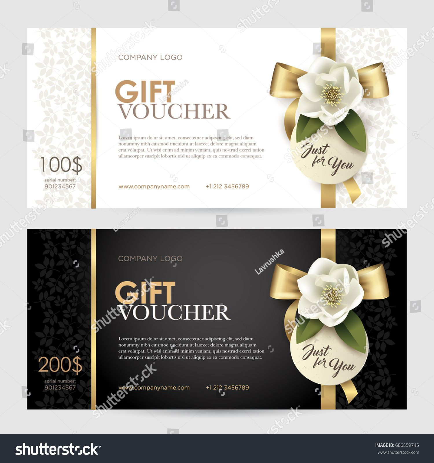 Set Of Luxury Gift Voucher With A Gold Bow Ribbon And Flower