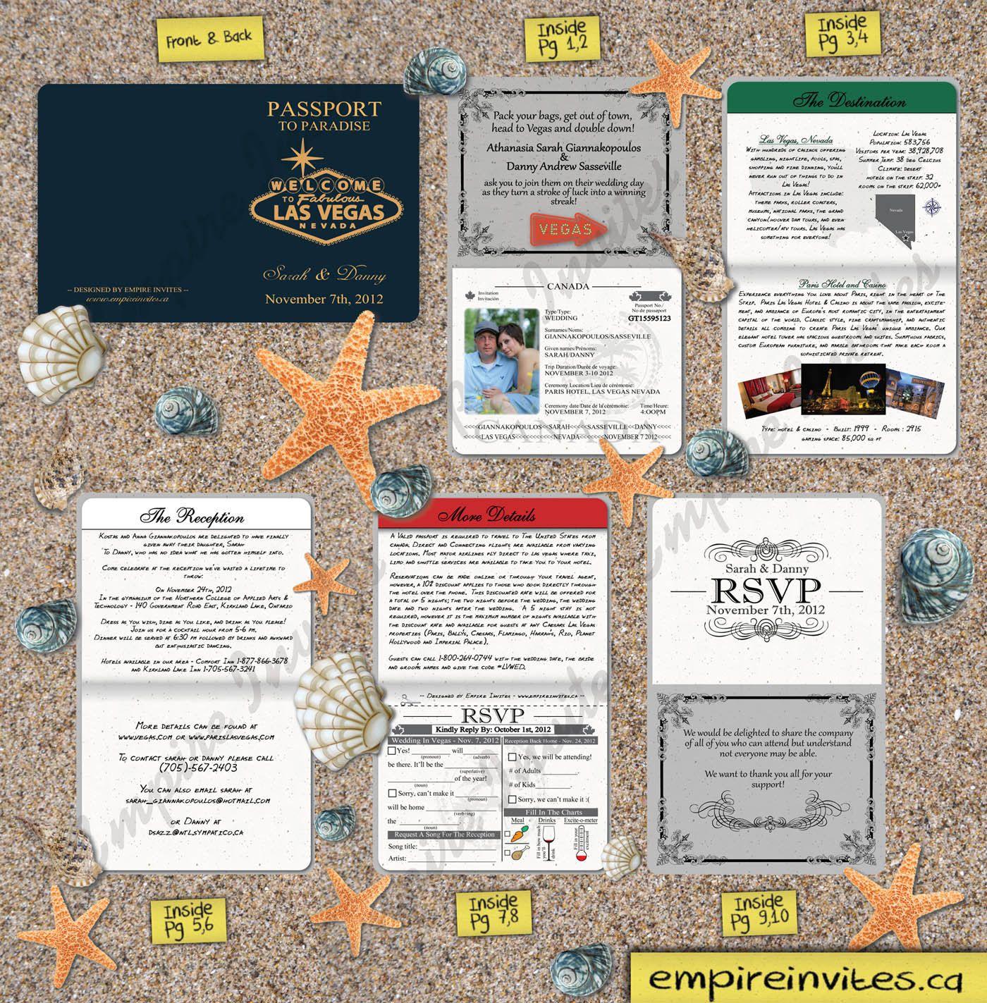 Passport Wedding Invitations, Custom Destination Wedding