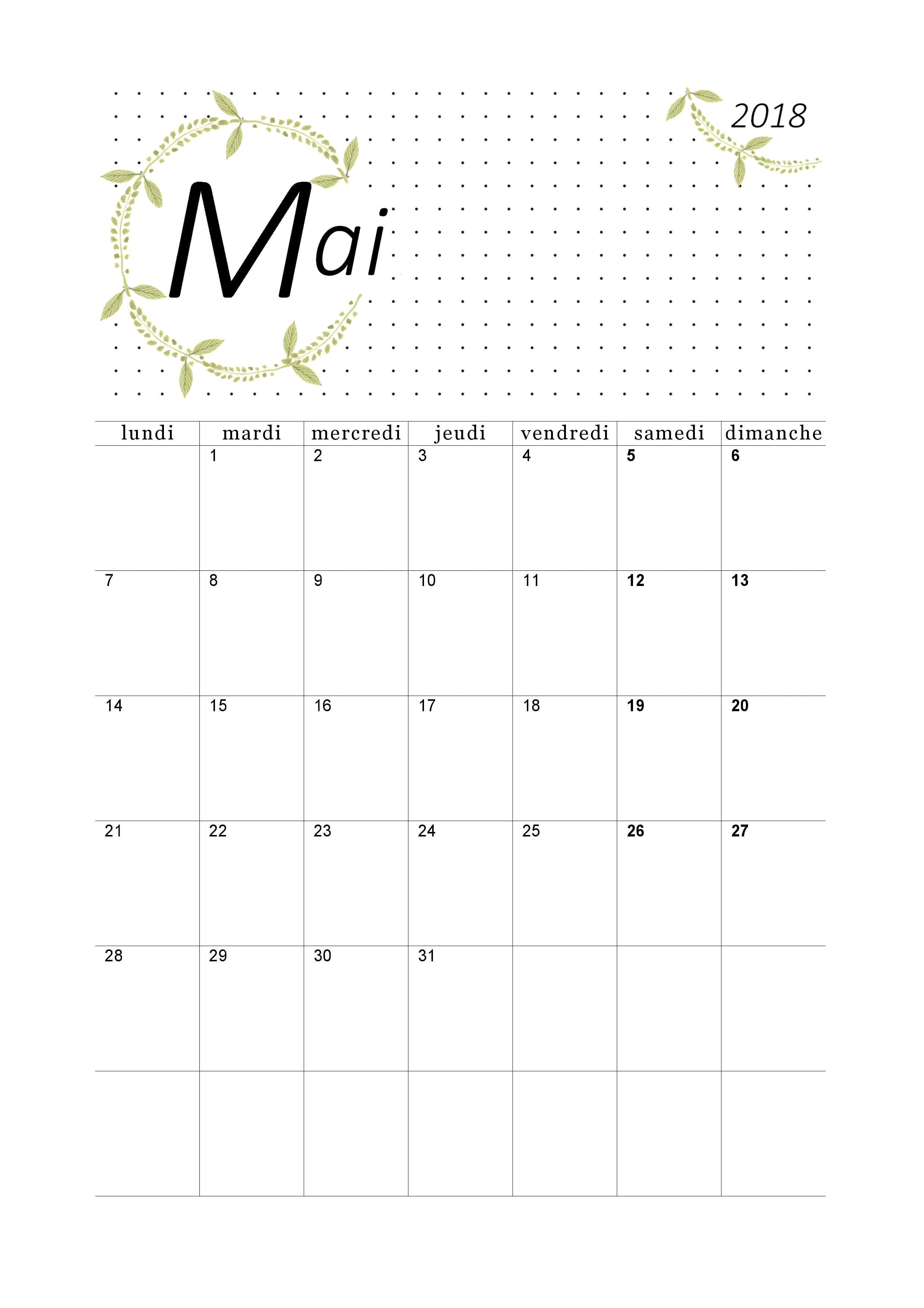 Calendrier Mai 2018 à imprimer   Calendriers PDF imprimables