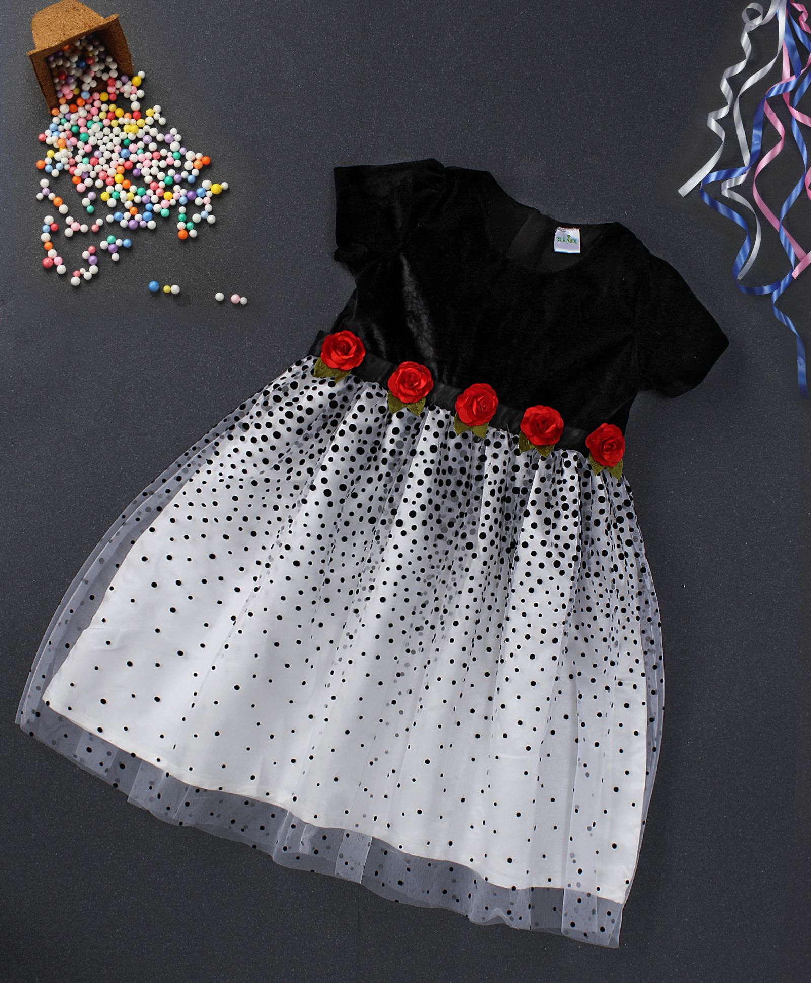 62338128dbe Babyhug Black   White Party Wear Frock With Floral Appliques  White  Floral   Frocks  Party  GirlsFashion