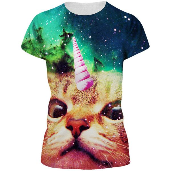 17fb9c3a Womens Galaxy Unicorn Cat 3D Printed Crewneck T-Shirt Green ($9.59) ❤ liked  on Polyvore featuring tops, t-shirts, green, green tee, crew-neck tee, ...