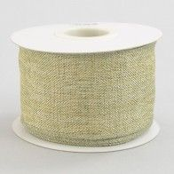 "2.5"" Metallic Faux Linen Ribbon: Gold & Sage (10 Yards)"