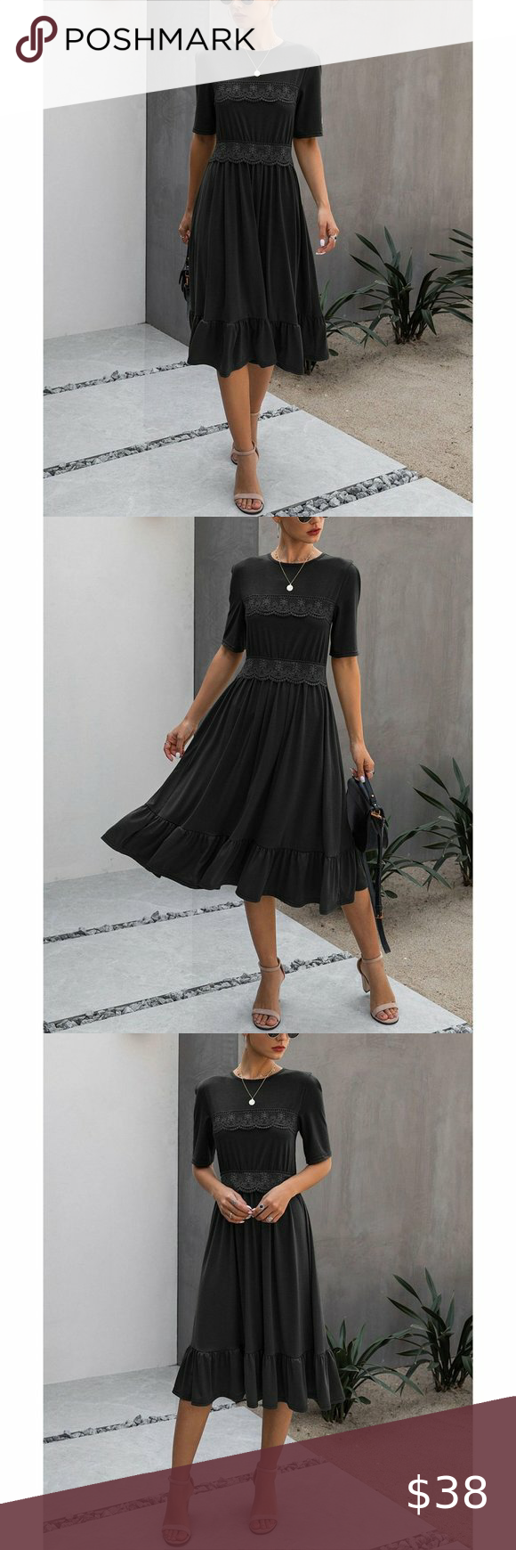 Nwt Black Lace Detail Ruffle Hem Midi Dress Xl Girls Fashion Dress Glam Girl Fashion Dress Size Chart Women [ 1740 x 580 Pixel ]
