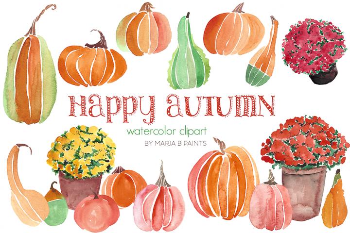 Autumn Flowers & Pumpkin Watercolor Clipart   Watercolor ...