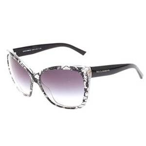 Dolce and Gabbana Black Oval 'Lace' Womens Sunglasses