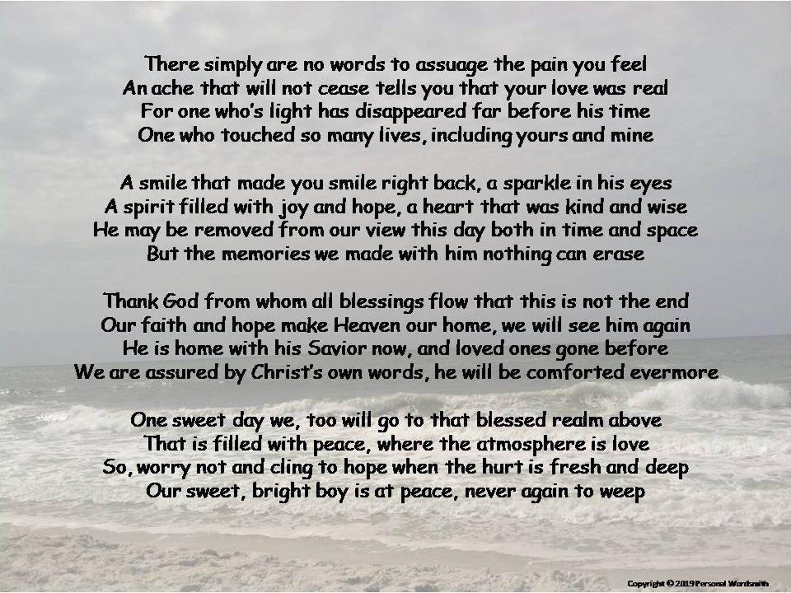 Celebration of Life Poetry Download Funeral Poem Print | Etsy