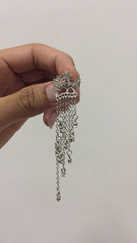 5849623e3 1 Pair Fashion Women Stylish Gold/ Silver Color Star Streamlined Tassel Long  Crystal Earrings Women Girl Jewelry Pendante Femme,#Silver#Gold#Star