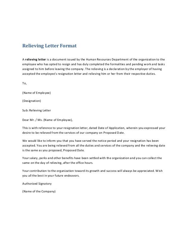 Relieving Letter Format A relieving letter is a document issued by ...