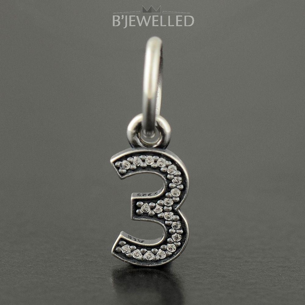 Authentic Genuine Pandora Silver Number 3 Dangle Charm 791341cz Pandora Silver Silver Numbers Silver