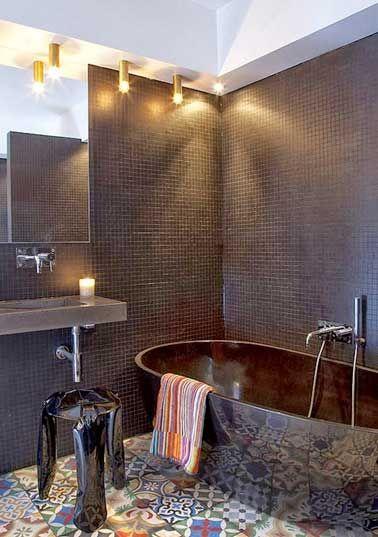 La déco salle de bain en carreaux de ciment c\u0027est chouette ! salle - salle de bains design photos