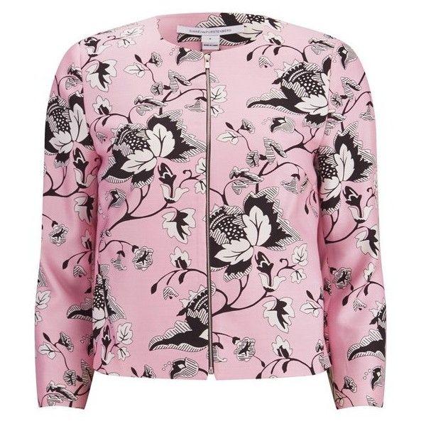 Diane von Furstenberg Women's Gabrielle Jacket - Light Pink ($270) ❤ liked on Polyvore featuring outerwear, jackets, tops, pink, pattern jacket, diane von furstenberg, slim fit jacket, pink jacket and diane von furstenberg jacket