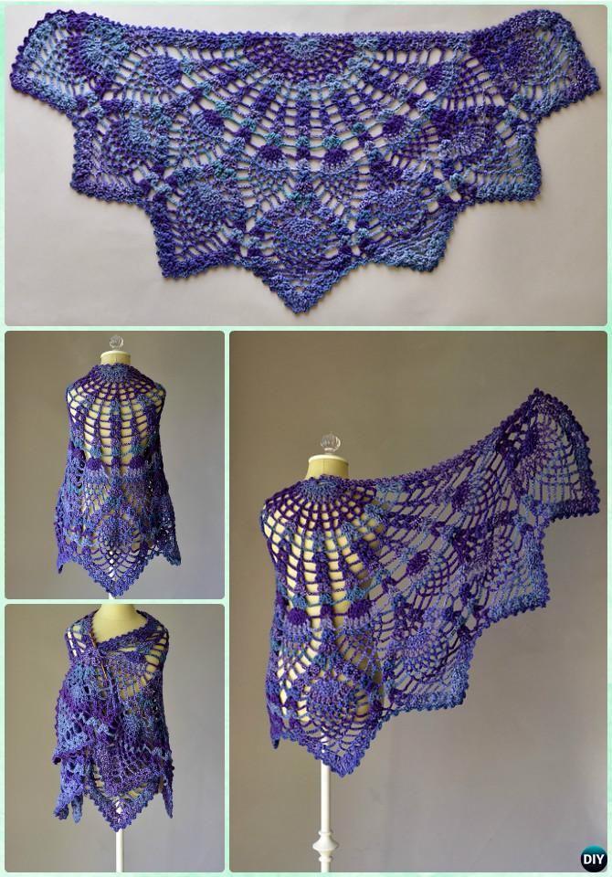Crochet Pineapple Peacock Shawl Free Pattern - #Crochet Women Shawl ...