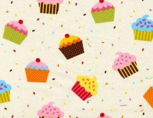 Caleb's Tossed Cupcakes Fabric: Cream