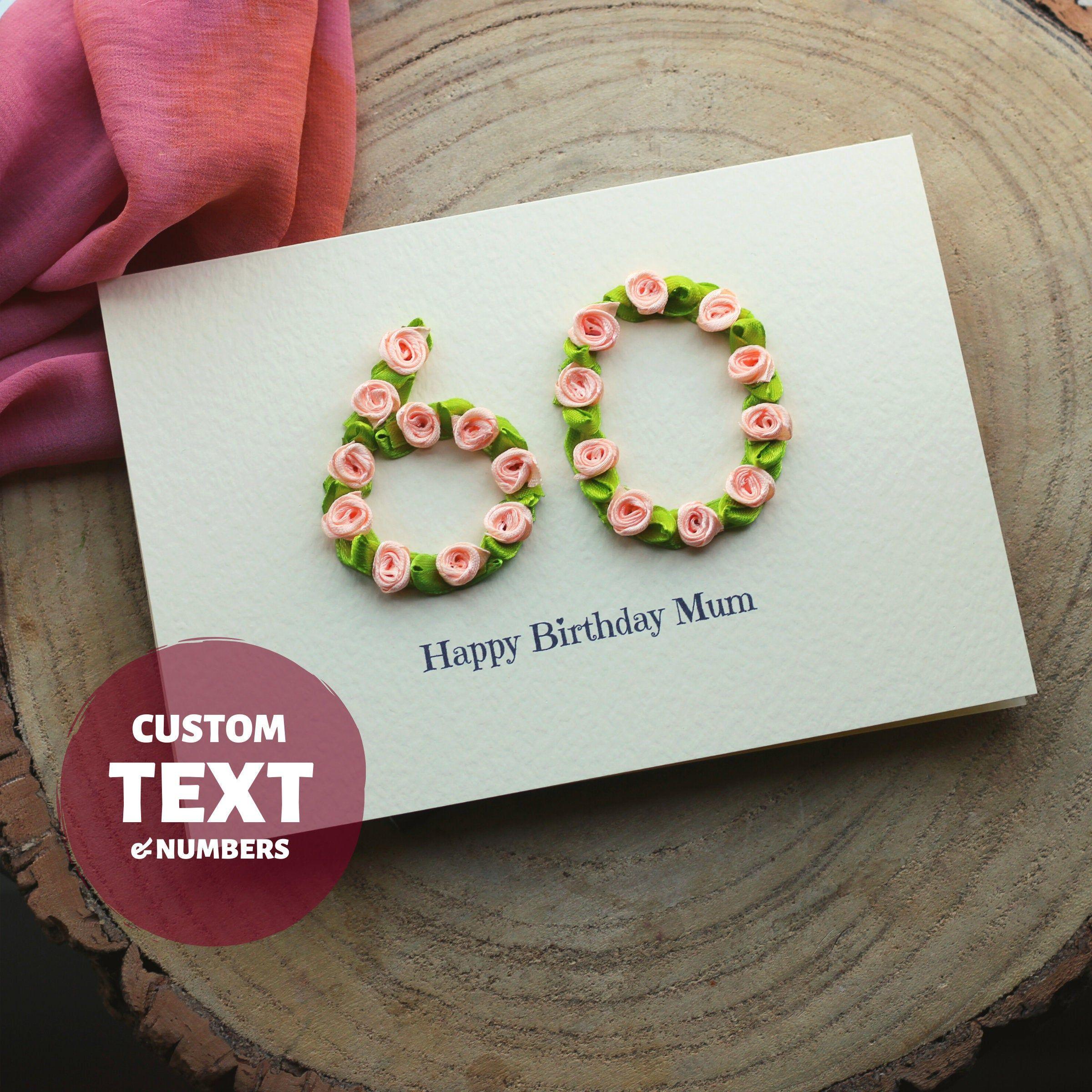 Luxury Birthday Card For Mum 60th Birthday Handmade Happy Etsy Luxury Birthday Cards Birthday Cards For Mum Happy 60th Birthday