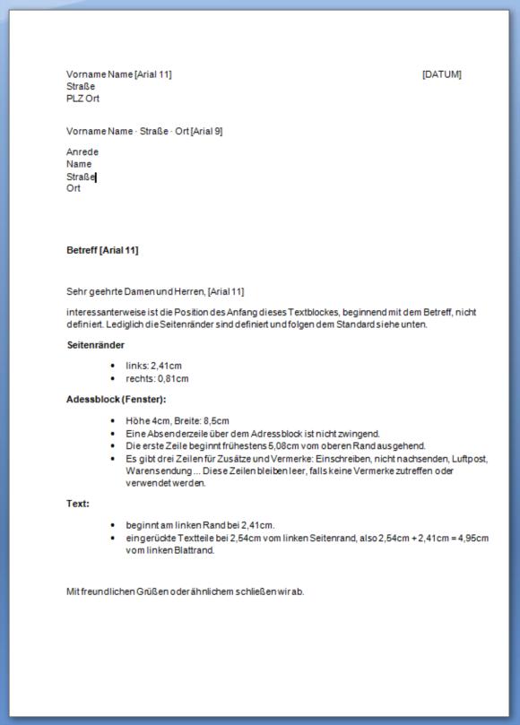 Geschaeftsbrief Din 5008 2011 B A4 Ib Extensions