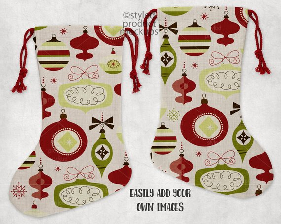Dye sublimation linen Christmas stocking mockup template | Add your