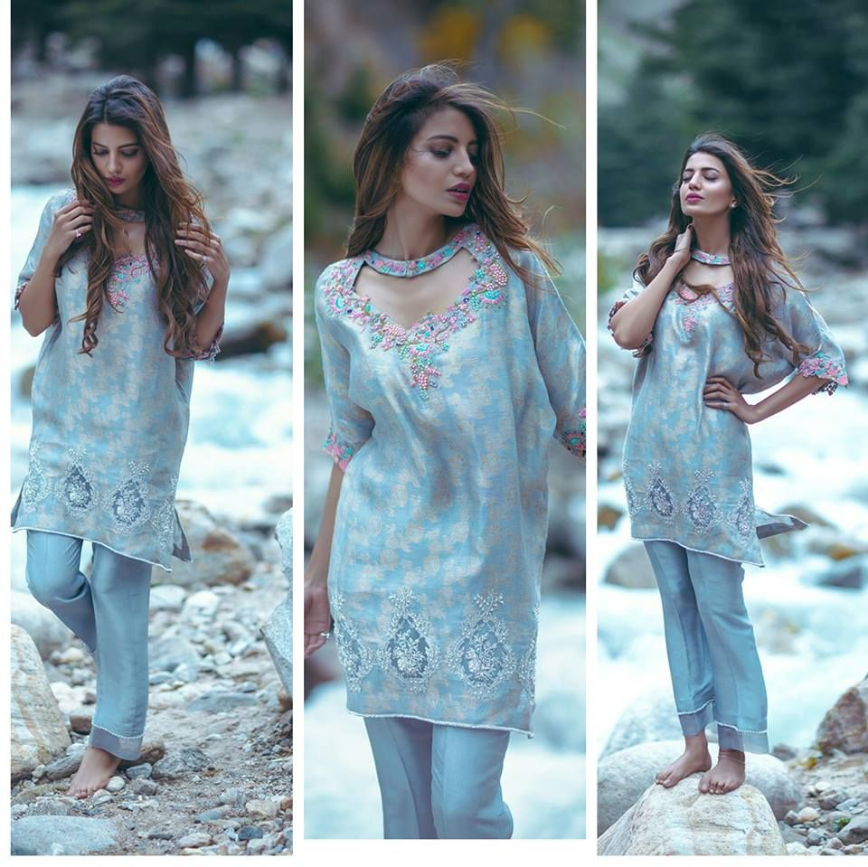 latest sky-blue-embroidered-party-dress-2016-2017   Paris rags ...