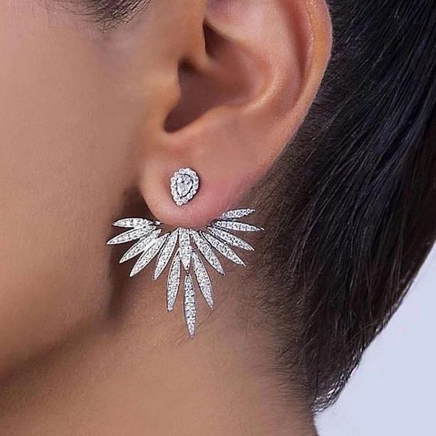 Diamond Flower Ear Jacket Earrings