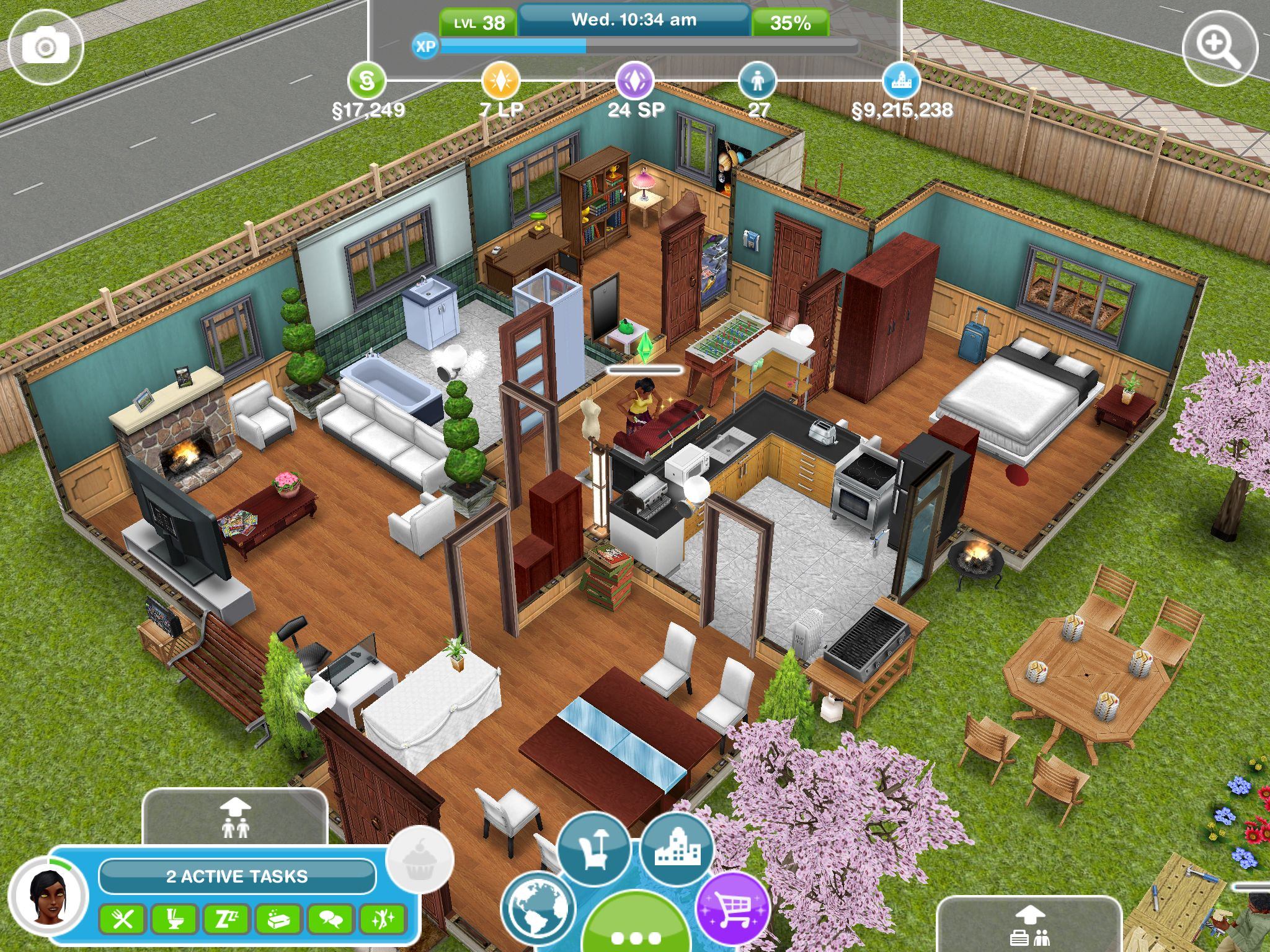 Sim blue house sims simsfreeplay house sim house for Case the sims 3 arredate