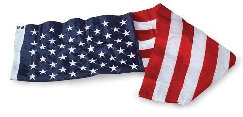 Allied Flag Embroidered Nylon U.S. Flag, 3-Foot by 5-Foot by Allied Flag. $23.87. Reinforced fly hems. Embroidered stars and sewn stripes. Proudly made in the usa. Outdoor embroidered nylon 3-foot by 5-foot U.S. flag. Made out of DuPoint SolarMax Nylon, a material created specifically for outdoor use.