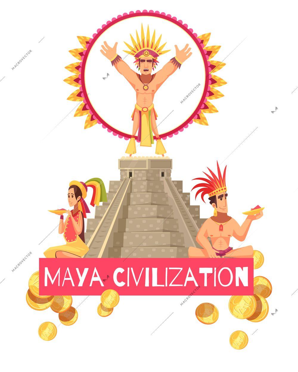 Maya civilization people and ancient teotihuacan pyramid