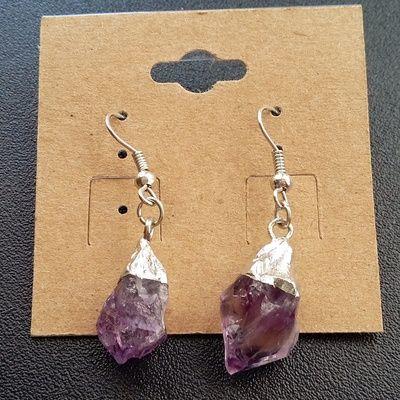 Silver dipped amethyst earrings