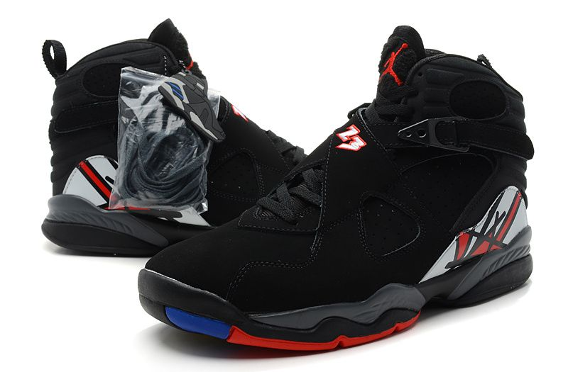 33d8ec35a3d127 Retro Air Jordan 8 Light Upper Mens Sneakers in Black with Red Yellow -  KicksBelow.com want these!