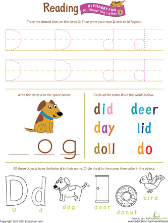 get ready for reading all about the letter d youngins 39 preschool worksheets letter d. Black Bedroom Furniture Sets. Home Design Ideas