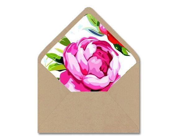 Printable Envelope Liner Template  Watercolor Pink Peonies Peony