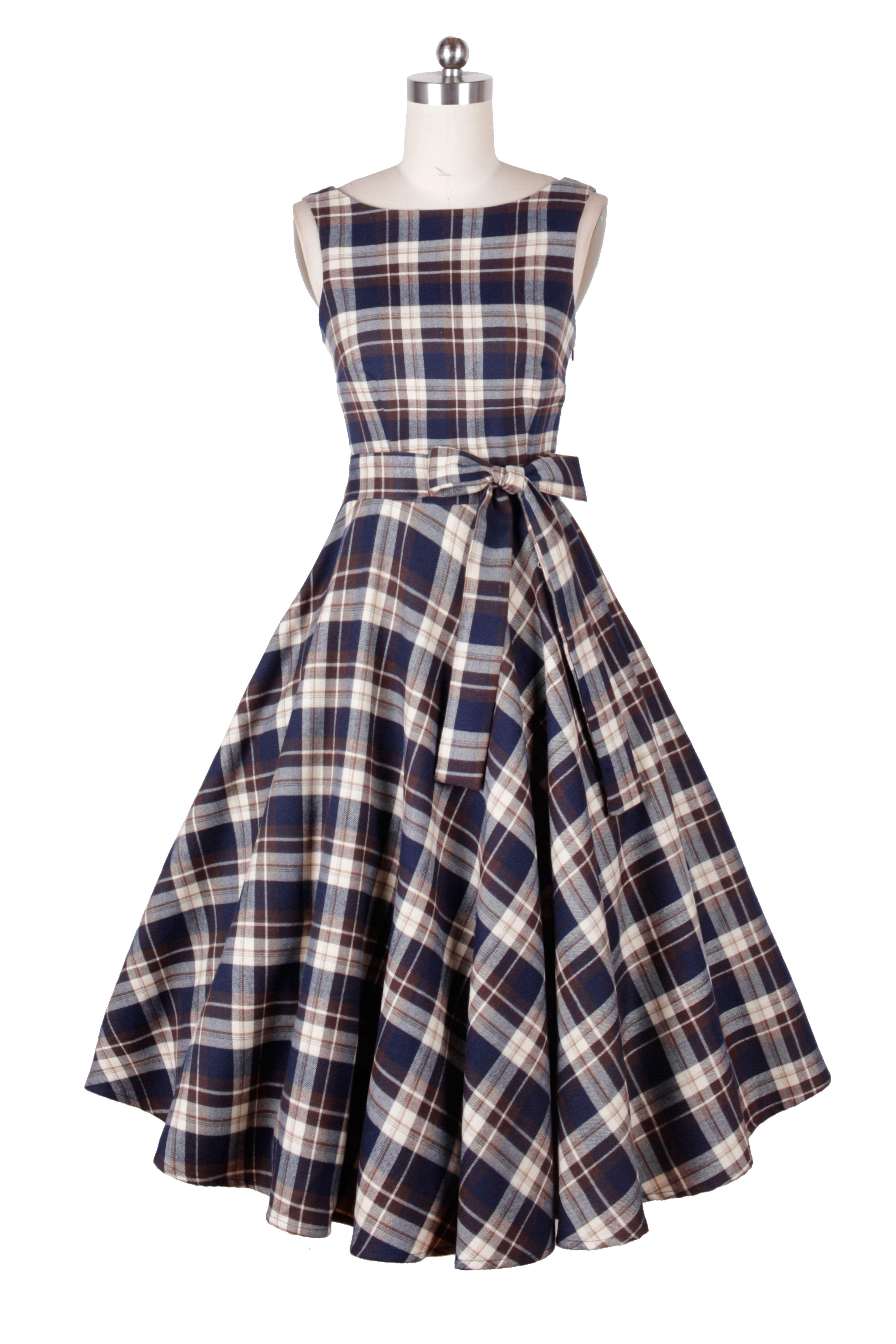 1410171- 1950s pinup vintage rockabilly hepburn tartan dress | Style ...