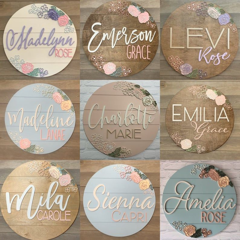 Personalized floral name sign baby name board 24