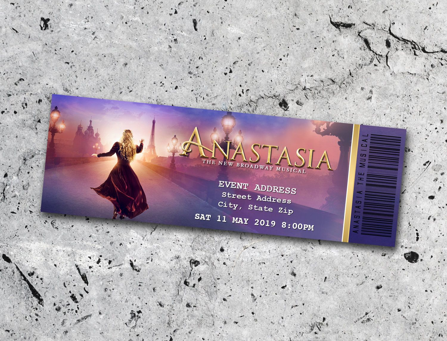 Anastasia Collectible Theater Ticket *Personalized Digital