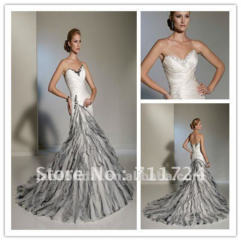 Cheap dress free, Buy Quality wedding dress free directly from China corset wedding dress Suppliers:white and black beaded Mermaid corset wedding dressesSize: Standard size or customer size,