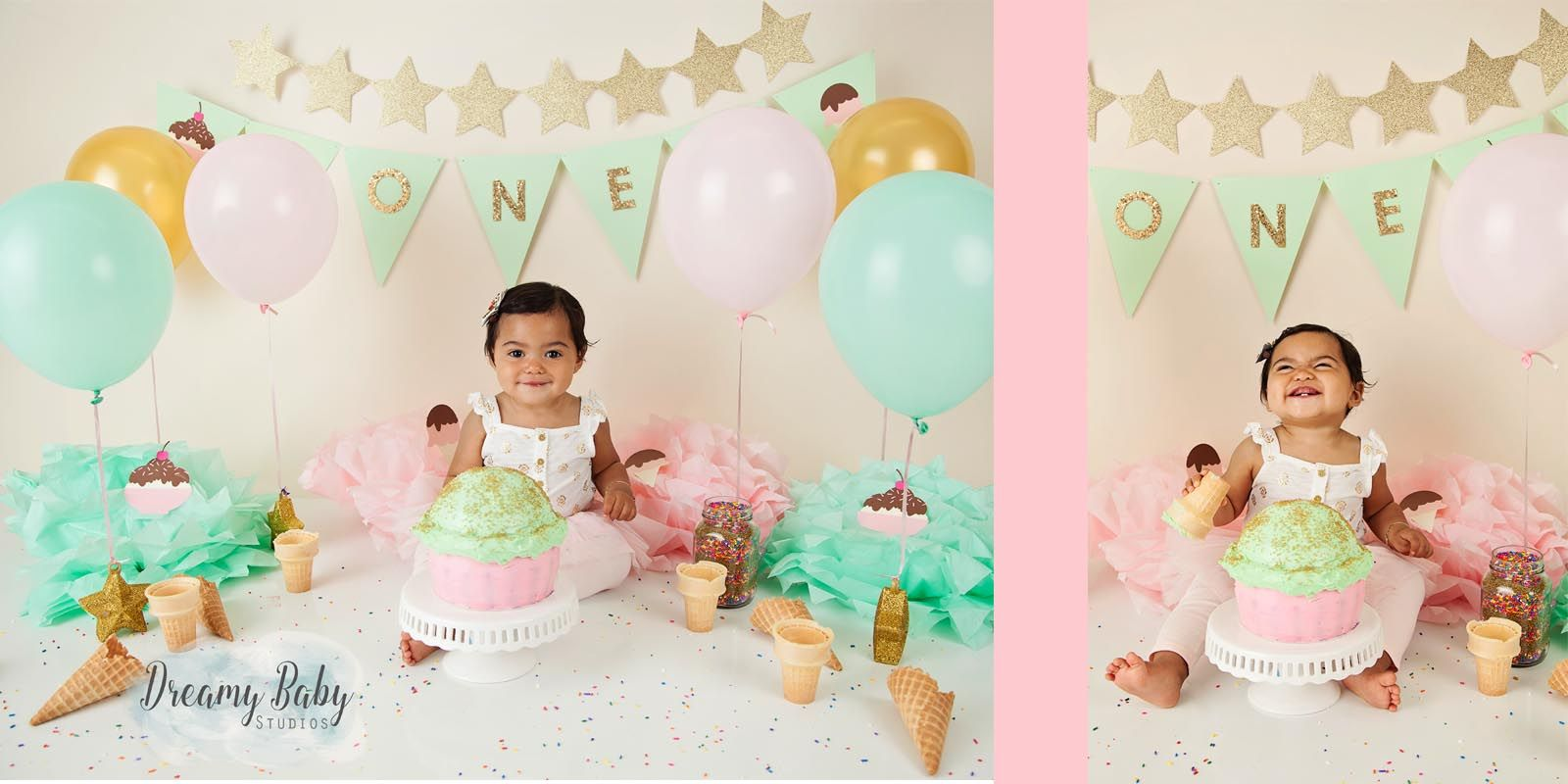 First Birthday Cake Smash Ice Cream Hampton Roads Virginia Beach Photography Studio