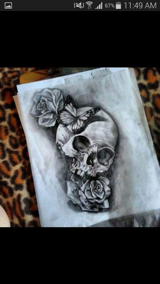bdbd35454 skulls & roses with butterflies | Tattoos | Skull sleeve tattoos ...