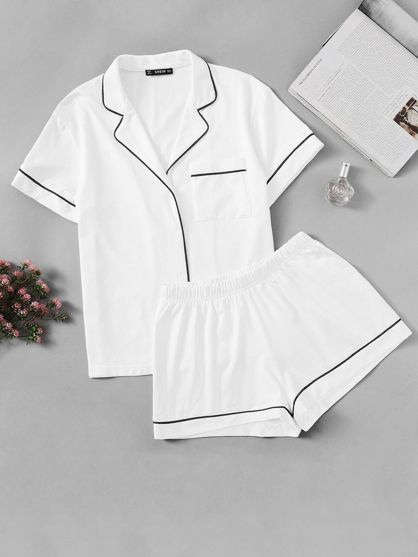 8f488d3993 Contrast Piping Pocket Front Shirt & Shorts Pj Set in 2019 | Sexy ...