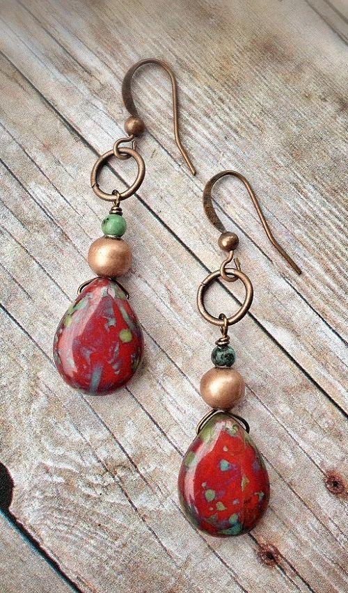 Red+Earrings+/+Red+Boho+Earrings+/+Handmade+Red+by+Lammergeier,+$18.00: