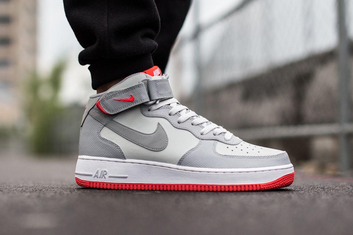 Nike Air Force 1 Mid 07 Grey Bright Crimson Sneaker Bar Detroit Nike Cheap Nike Air Max Nike Free Shoes