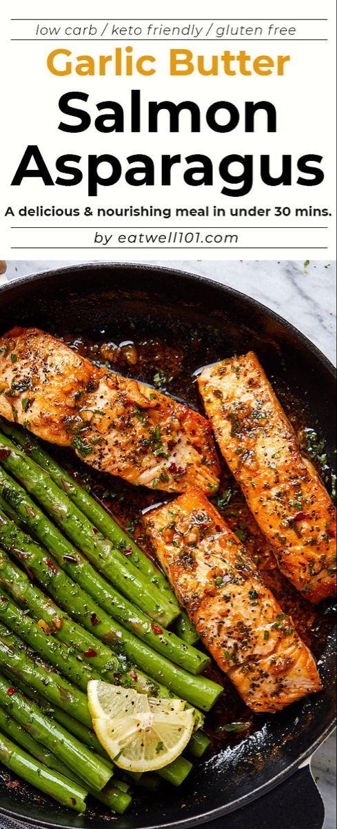 Garlic Butter Salmon with Lemon Asparagus Skillet -   -